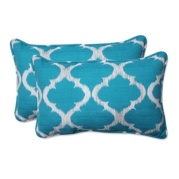 "Set of 2 Teal Qua trefoil Rectangular Outdoor Corded Throw Pillows 18.5"""