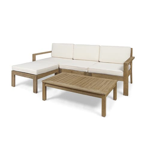 Santa Ana Acacia Wood 3-seater Outdoor Sectional with Cushions by Christopher Knight Home