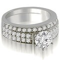 1.70 cttw. 14K White Gold Cathedral Two Row Round Diamond Bridal Set - Thumbnail 0