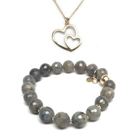 "Julieta Jewelry Set 10mm Grey Labradorite Sophia 7"" Stretch Bracelet & 18mm Double Heart Charm 16"" 14k Over .925 SS Necklace"