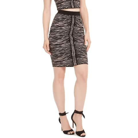Guess Womens Knit Skirt Animal Print Mini - Kingdom Stripe - L
