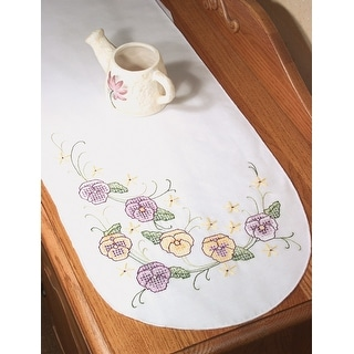 """Stamped Perle Edge Dresser Scarf 15""""X42""""-Pansy"""