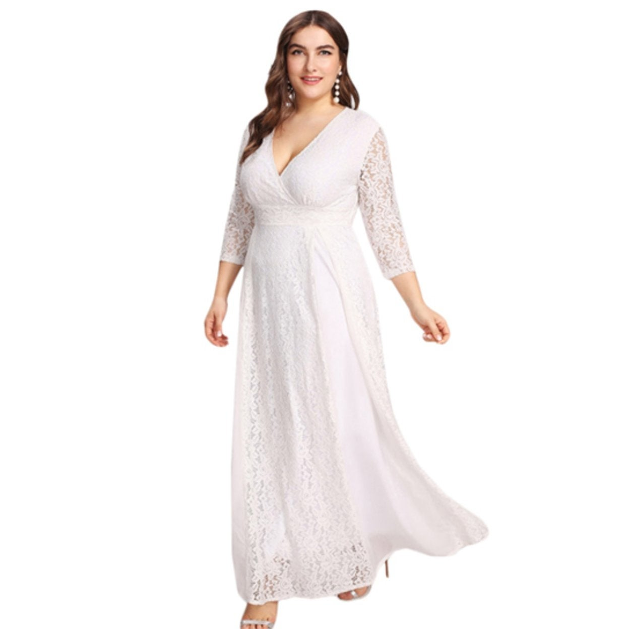 ddab95c40c99a Shop Women's Plus Size High Waist Lace Overlay Evening Maxi Dress - On Sale  - Free Shipping Today - Overstock - 27114107