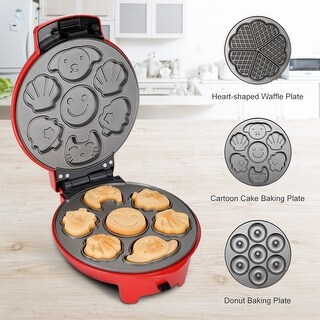 Mini3-in-1 Aluminum Multi-Plate Waffle Iron for Donuts
