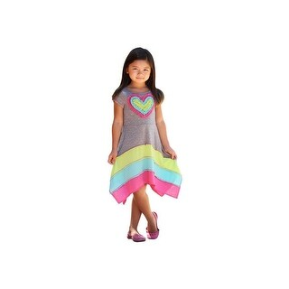 Girls Heather Grey Multi Color Panel Heart Applique Hanky Hem Dress 7