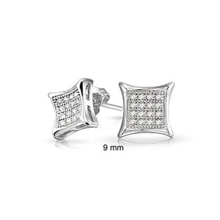 Bling Jewelry Men Kite Micro Pave CZ Stud earrings 925 Sterling Silver 9mm