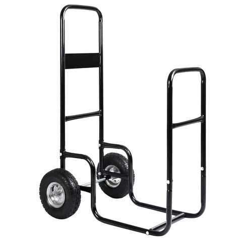Costway Firewood Carrier Log Wood Mover Hauler Fire Rack Caddy Cart Dolly Rolling