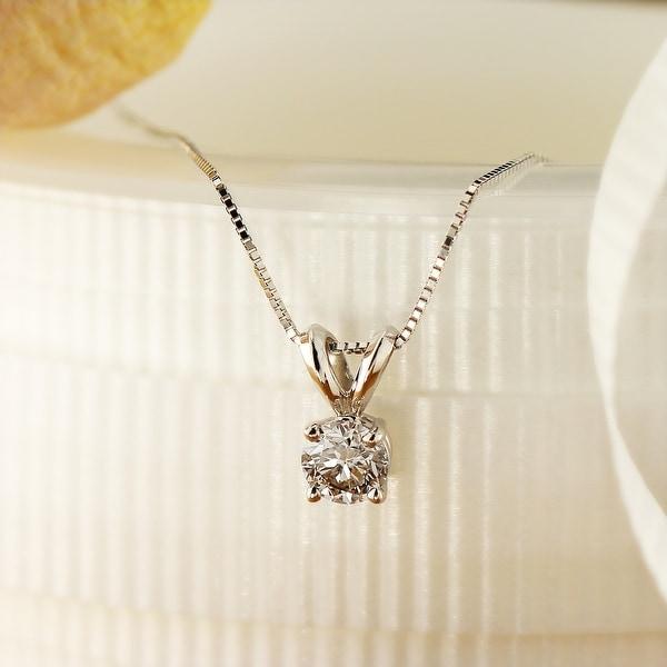 Auriya Clarity-Enhanced Round Solitaire Diamond Necklace 14k Gold