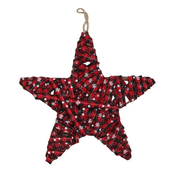 "12.25"" Red and Black Plaid Star Christmas Ornament"