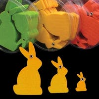 "Club Pack of 144 Bright Yellow Fuzzy Felt Bunnies in Assorted Sizes 1"", 2"", 3"""