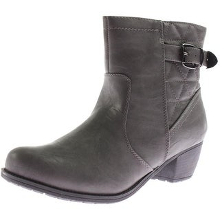Easy Street Womens Crosby Round Toe Quilted Ankle Boots