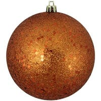 "Burnt Orange Shatterproof Holographic Glitter Christmas Ball Ornament 4"" (100mm)"