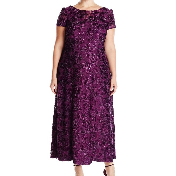 Alex Evenings NEW Purple Women's Size 14W Plus Rosette Ball Gown