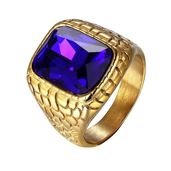 Mens Square Cut Blue Stone Gold Tone Nugget Design Stainless Steel Ring Unique