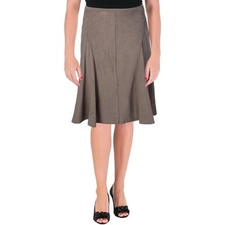 Elie Tahari Womens Taura Faux Suede Pull On A-Line Skirt