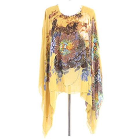 Sleeve Floral Chiffon T-Shirts Tops Blouse