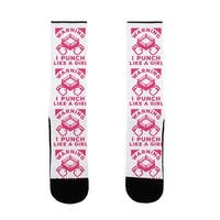 Warning I Punch Like A Girl US Size 7-13 Socks by LookHUMAN