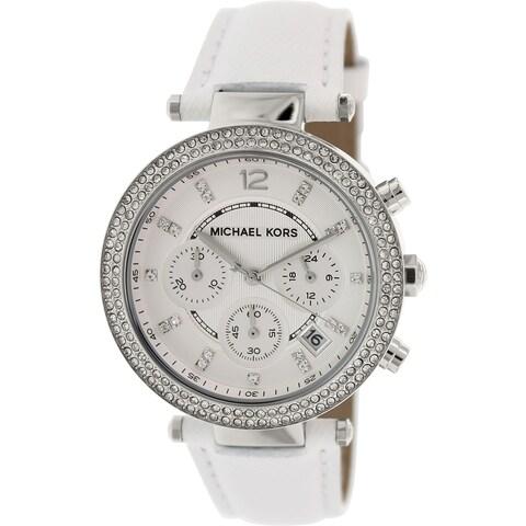 Michael Kors Women's Parker White Leather Quartz Fashion Watch