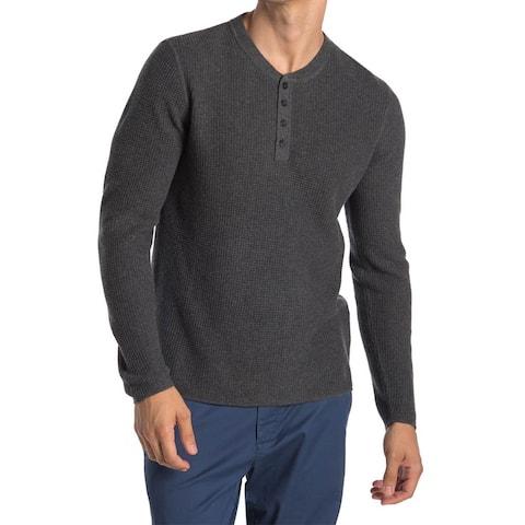 Original Penguin Mens Long Sleeve Waffle Henley Shirt XX-Large Dark Charcoal