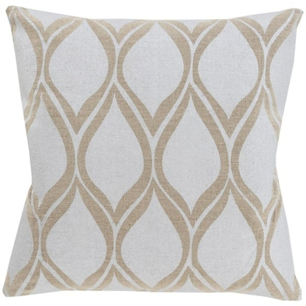 "18"" Dove Gray and Camel Brown Drops Hand Woven Decorative Throw Pillow - Down Filler"