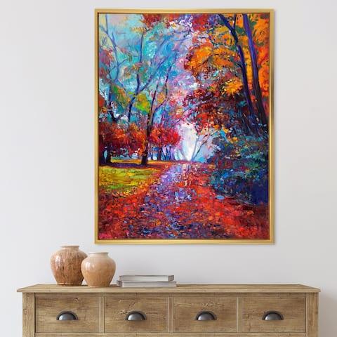 Designart 'Little Road Through Red Autumn Landscape' Traditional Framed Canvas Wall Art Print