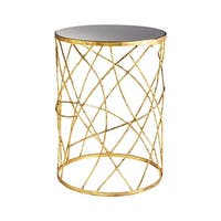 "Cyan Design Esca Side Table Esca 18"" Diameter Iron and Glass Side Table - Gold and Black - n/a"
