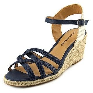 Lucky Brand Kalley 3 Women  Open Toe Canvas Blue Wedge Sandal
