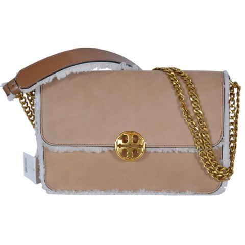 "Tory Burch Suede Leather Shearling Convertible Purse Handbag - 9.5"" x 7"" x 3"""