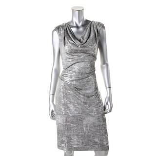Vince Camuto Womens Metallic Drapey Cocktail Dress