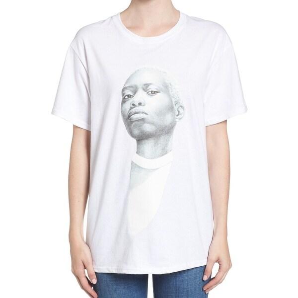 Hanes White Mens Size Large L Valerie Mevegue Portrait Graphic Tee