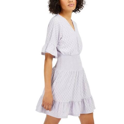 MICHAEL Michael Kors Womens Casual Dress Eyelet Smocked