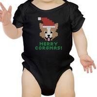 Merry Corgmas Corgi Black Baby Bodysuit Cute Christmas Baby Gift Idea