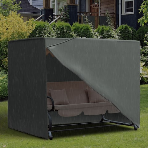 Outsunny All Weather Garden Patio Swing Chair Cover Waterproof Protector Anti-UV and PVC Coating 6.7ft x 4.1ft x 5.4ft