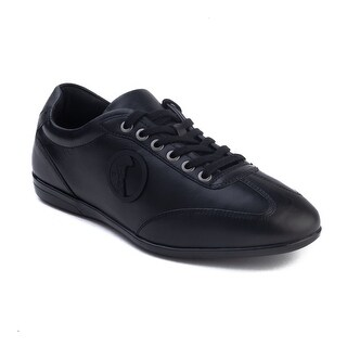 Versace Collection Men's Leather Medusa Low Top Sneaker Shoes Tonal Black