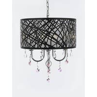 Indoor 4 Light Chrome & Crystal Chandelier Pendant with Crystal Hearts