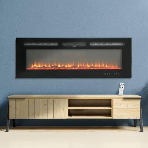 Black Wall Mounted 750W/1500W Electric Fireplace