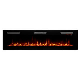 """C3 SIL72  Sierra 4777 BTU / 1400W 72"""" Wide Vent-Free Electric Fireplace with Interchangeable Media Options and Touch-Screen"""