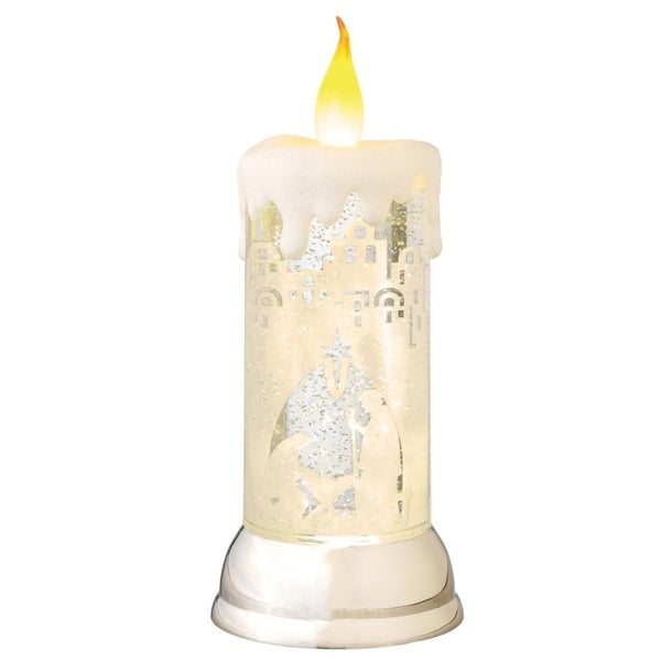 "10.5"" LED Lighted Nativity Scene Swirling Christmas Snow Globe Glitterdome Candle - WHITE"