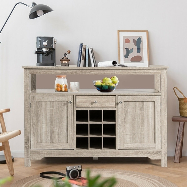 Transitional Buffet Server Sideboard with Wine Storage. Opens flyout.