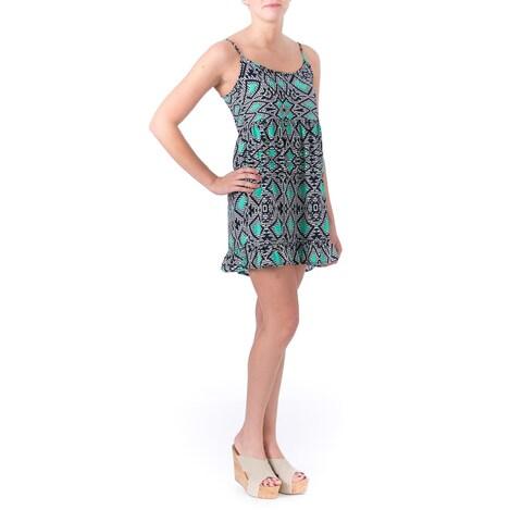 One Clothing Womens Juniors Babydoll Dress Printed Ruffled