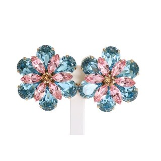 Dolce & Gabbana Dolce & Gabbana Gold Brass Floral Crystal Large Clip On Earrings