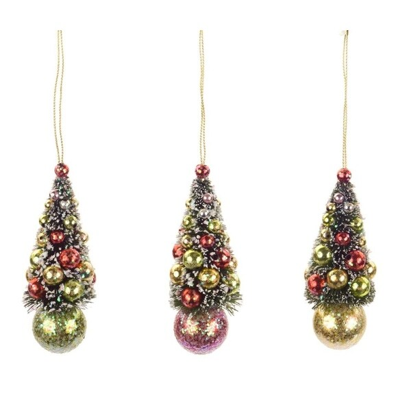 """Set of 12 Red, Green and Yellow Glittered Frosted Mini Christmas Tree Ornaments 4"""" - multi"""