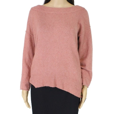 Democracy Womens Sweater Pink Large L Side-Button Ribbed-Trim Pullover