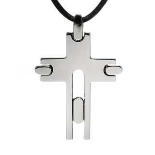 """Chisel Men's Modern 33mm Titanium Cross on 18"""" Leather Cord Necklace (2 mm) - 18 in"""
