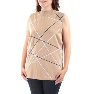 ALFANI $60 Womens New 1363 Brown Striped Sleeveless Vest Sweater XL B+B