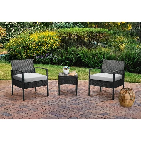 3 Piece Outdoor Patio Wicker Conversation Set with Cushions