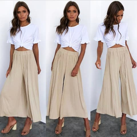 Micro-Pleated Cropped Pants, S-Xl