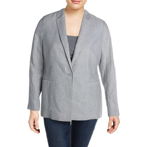 Lafayette 148 New York Womens Samson One-Button Blazer Knit Business - Fog Melange