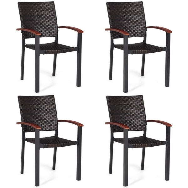 Shop Costway 4PCS Patio Rattan Dining Chairs Armchair ...