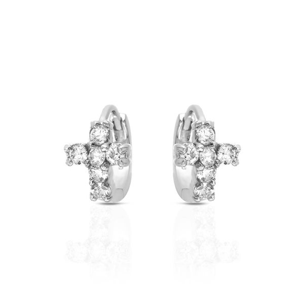 Mcs Jewelry Inc STERLING SILVER 925 CROSS EARRINGS WITH CUBIC ZIRCONIA 12MM